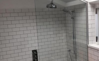 Glass shower enclosure in an alcove