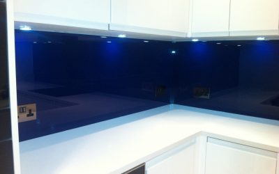 Two extremes – antique glass and cobalt blue splashbacks