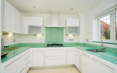 A controversial colour for a kitchen splashback and worktop?